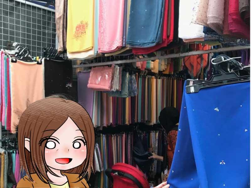 マレーシアのスカーフショップ